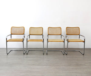 Set of 4 Cantilevered Chairs in the Style of Marcel Breuer