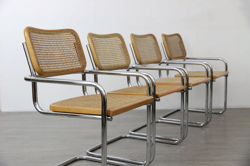 Set of 4 Cantilevered Tubular Dining Chairs in the Manner of Marcel Breuer
