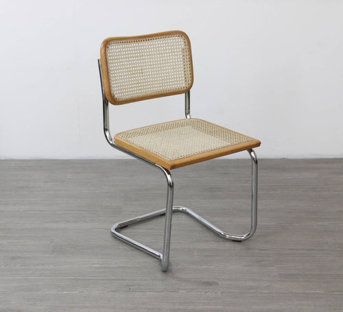 Stackable Cesca Style Chair in Chrome and Rattan