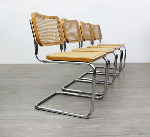 Set of Four Cesca Style Dining Chairs, After Marcel Breuer