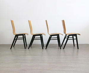 Set of 4 Mid Century Industrial Style Plywood Chairs