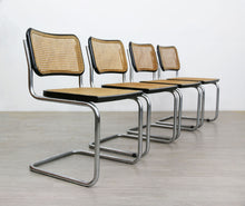 Load image into Gallery viewer, Set of 4 Black Cesca Style Dining Chairs After Marcel Breuer