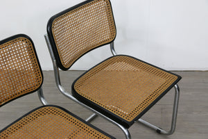 Set of 4 Black Cesca Style Dining Chairs After Marcel Breuer
