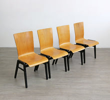 Load image into Gallery viewer, Set of 4 Mid Century Industrial Style Plywood Chairs