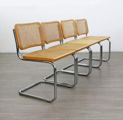 Cesca Style Dining Chairs, After Marcel Breuer
