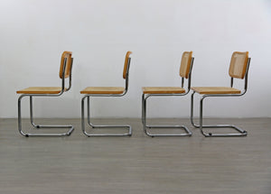 Set of Four Blonde Cesca Style Chairs after Marcel Breuer