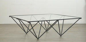 Paolo Piva Style Coffee Table in Glass & Metal
