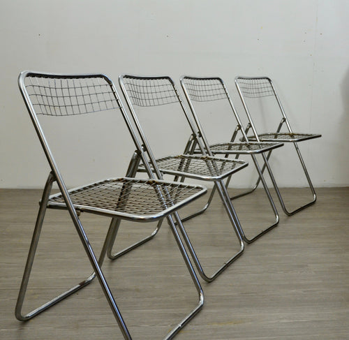 Set of Four Chrome Folding Chairs by Niels Gammelgaard for IKEA, 1970s