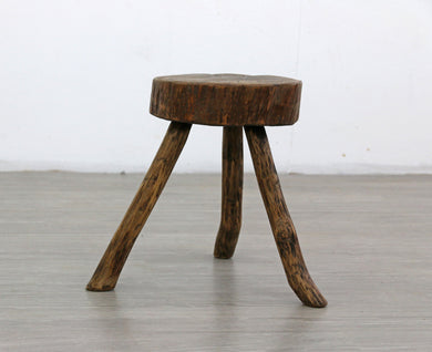 Antique Milking Stool With Live Edge Top