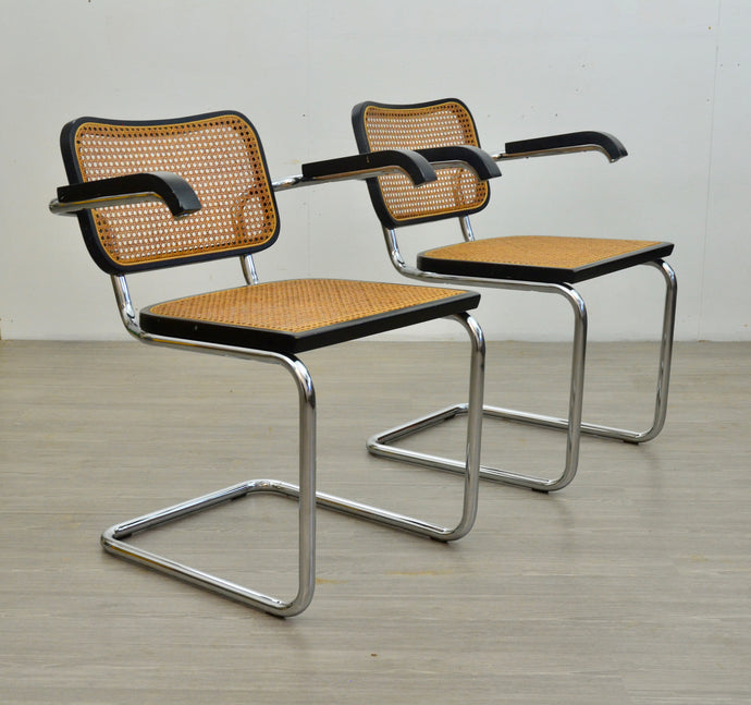 Pair of Black Cantilevered Cesca Style Chairs