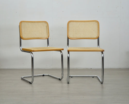 Pair of Blonde Cesca Style Chairs
