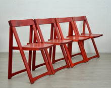Load image into Gallery viewer, Red Folding Chairs by Aldo Jacober for Bazzani, 1970s, Set of 4