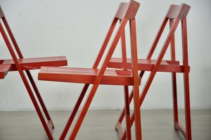 Red Folding Chairs by Aldo Jacober for Bazzani, 1970s, Set of 4