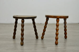 Pair of Bobbin Turned Half Moon Stools
