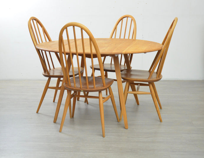 Ercol Drop Leaf Table and Four Chairs, 1970s