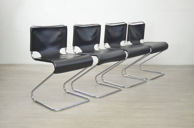 Set of Four 'Biscia' Chairs in Black by Pascal Mourgue