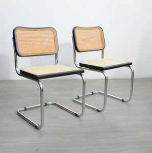 Pair of Breuer Style Black Chairs