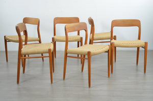 Set of 6 Model 75 Dining Chairs by Niels Moller