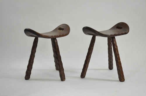 Pair of Brutalist 'Saddle' Stools from France, 1960s