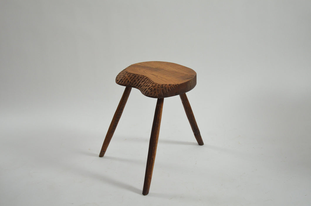 Carved, French Brutalist Stool
