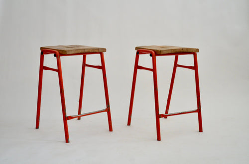 Pair of Vintage Red Lab Stools