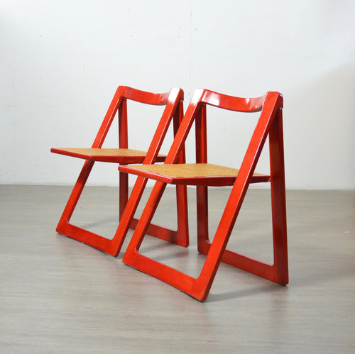 A Pair of Red Trieste Chairs by Aldo Jacober
