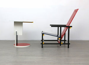 Reproduction Red and Blue Chair and Coffee Table by Gerrit Rietveld