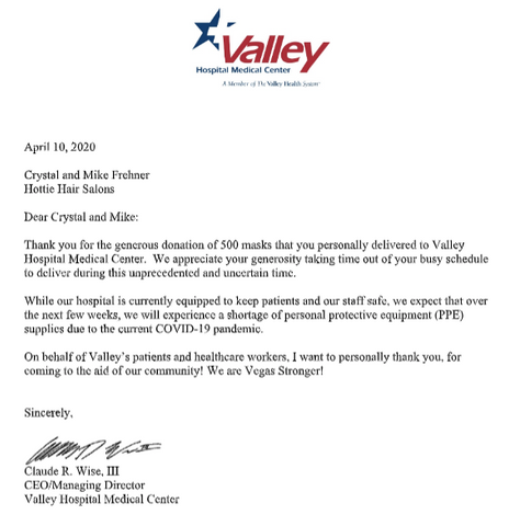 Thank You Letter From Valley Hospital CEO for Masks