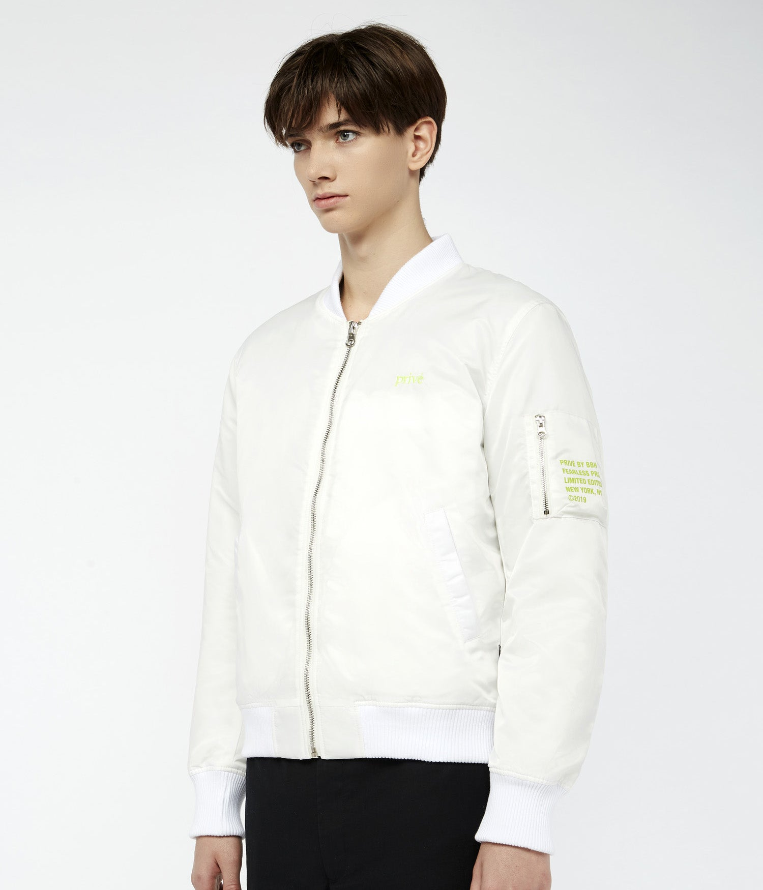 Privé Alliance Men's Flight Bomber Jacket White