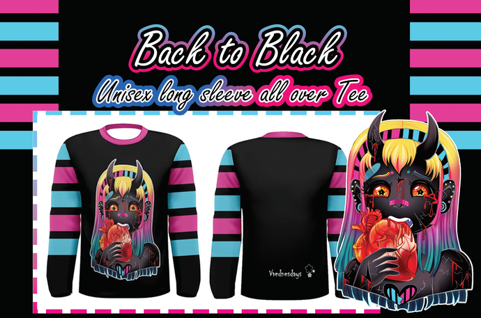 Back to Black Demon Girl Unisex All over Long Sleeve Shirt