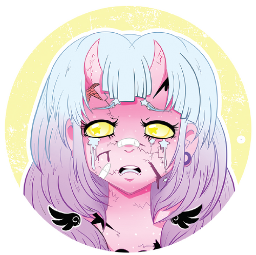 I h8 it Pink Demon Girl Button