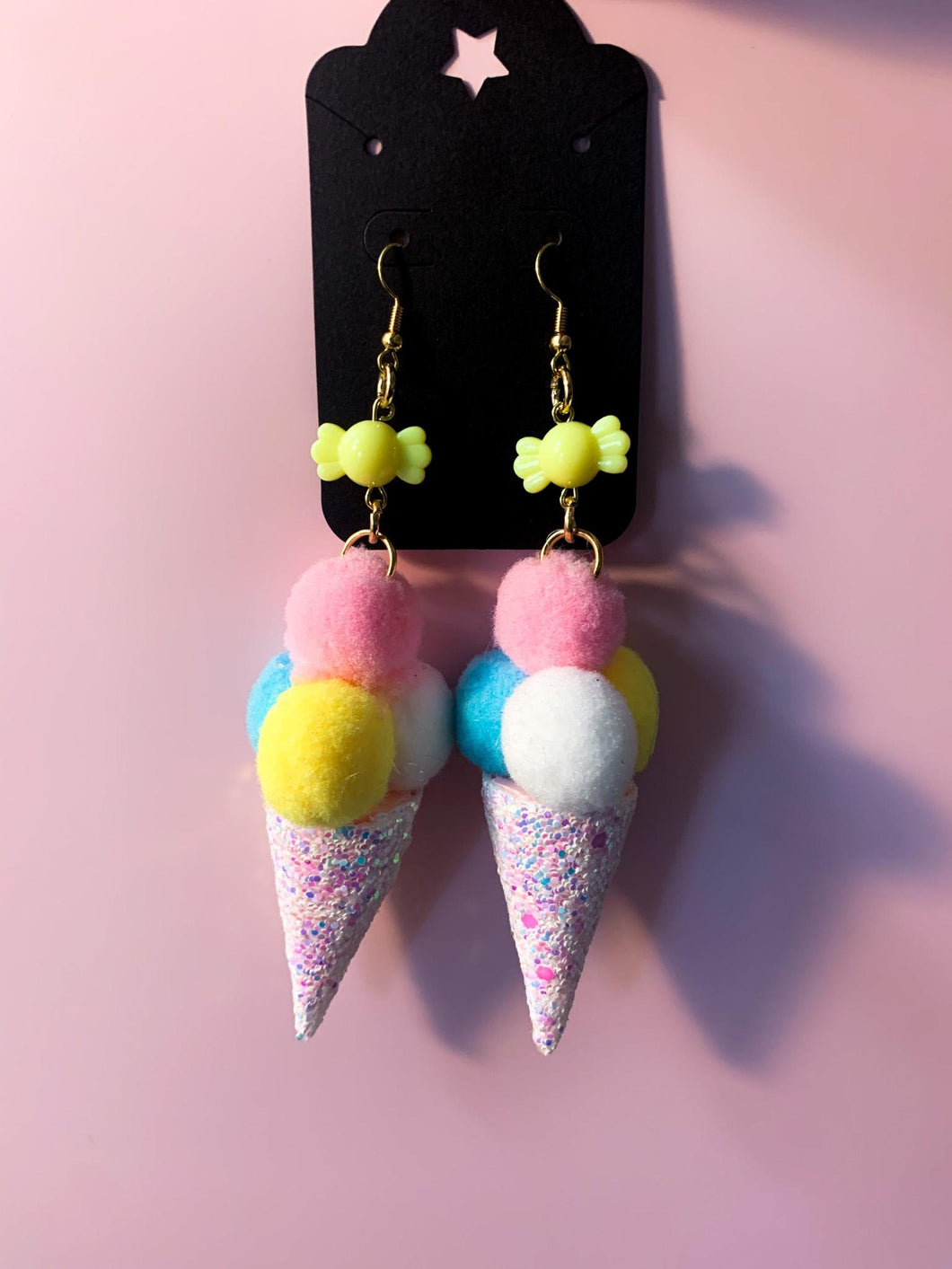 Pom Pom Kawaii Ice Cream Earrings