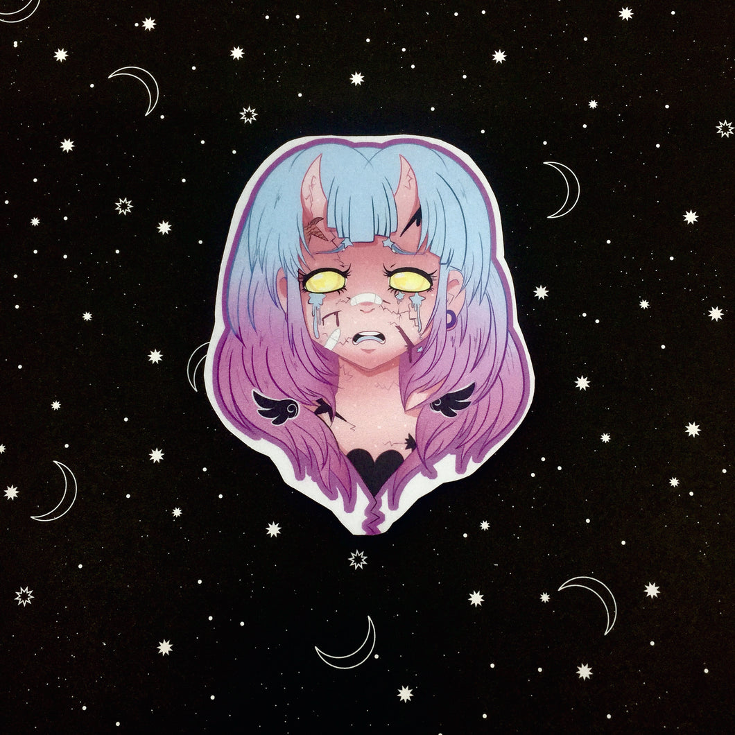 I h8 it Demon Girl Vinyl Sticker