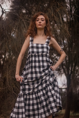 Beautiful Stranger Gingham tie shoulder maxi dress