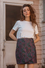 Load image into Gallery viewer, Everybody's Talkin' Paisley Brocade Wrap Mini Skirt