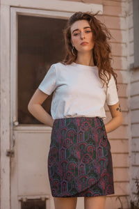 Everybody's Talkin' Paisley Brocade Wrap Mini Skirt