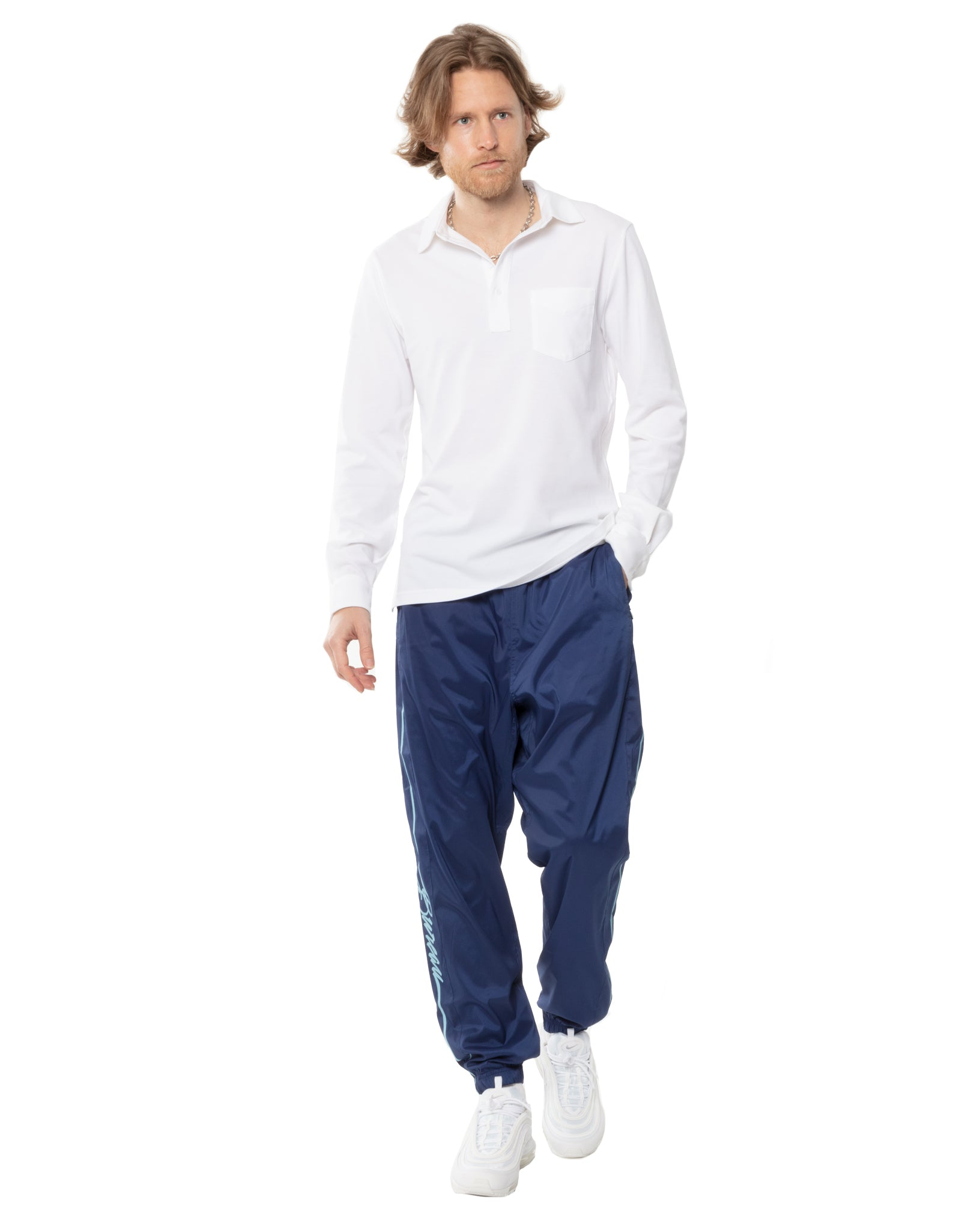 Men's Navy Blue Windbreaker track pants