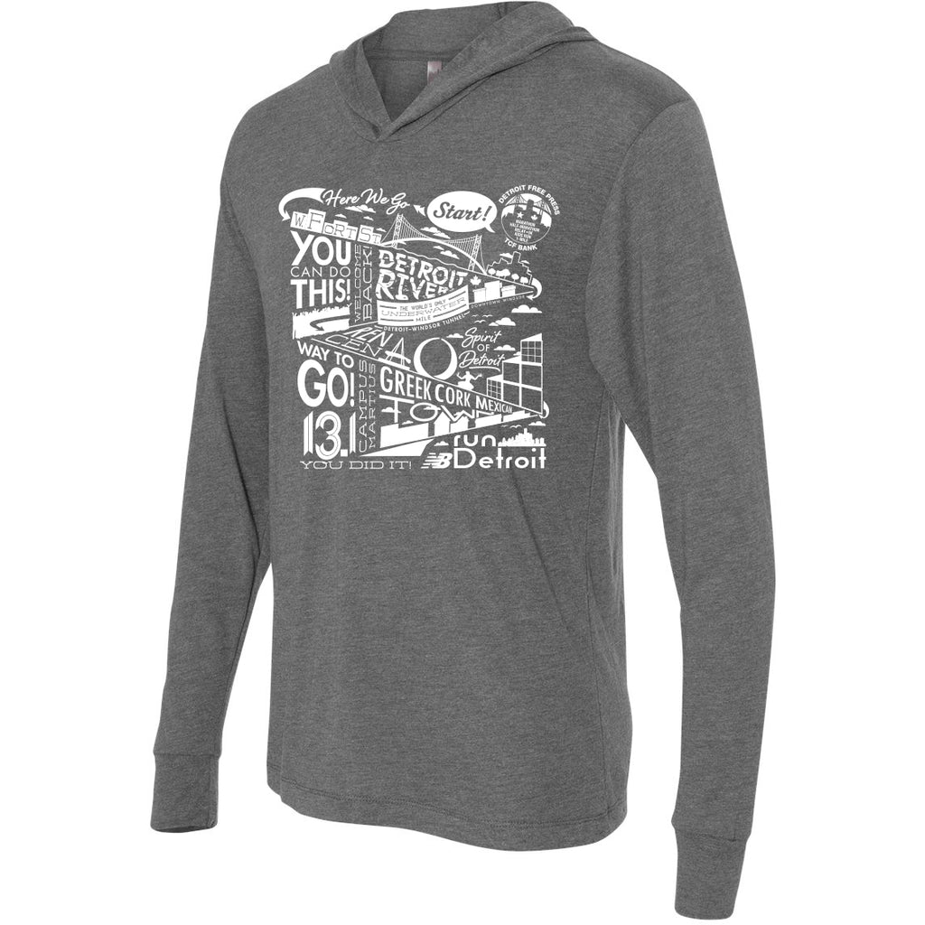 Detroit Half Marathon Course Text T-Shirt Hoody