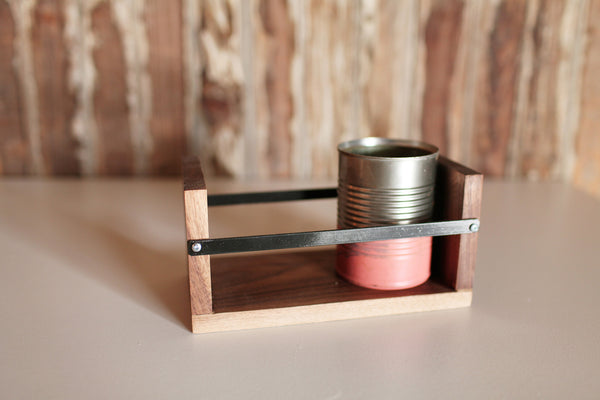 Walnut & steel small caddy