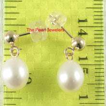 Load image into Gallery viewer, Raindrop White Cultured Pearl Dangle Stud Earrings; 14k Yellow Solid Gold