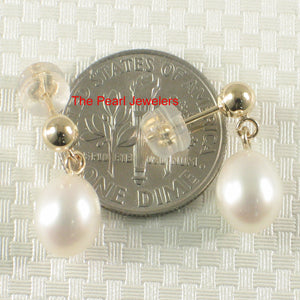 Raindrop White Cultured Pearl Dangle Stud Earrings; 14k Yellow Solid Gold