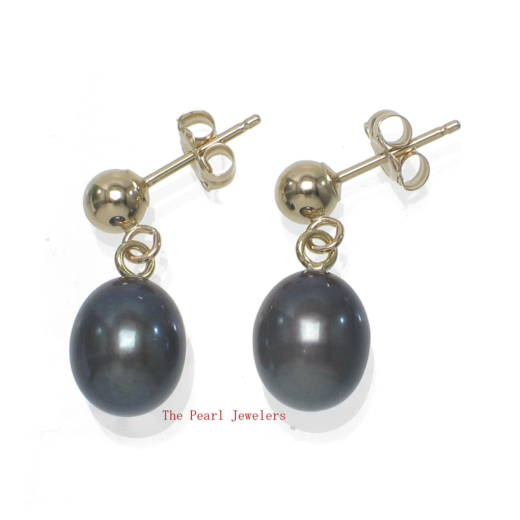 1000011-Black-Freshwater-Pearl-14k-Yellow-Solid-Gold-Earrings