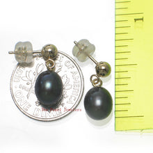 Load image into Gallery viewer, 1000011-Black-Freshwater-Pearl-14k-Yellow-Solid-Gold-Earrings