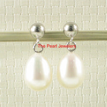 Load image into Gallery viewer, 14k White Solid Gold Raindrop Shaped White Cultured Pearl Dangle Stud Earrings