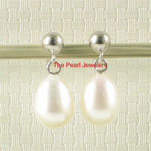 14k White Solid Gold Raindrop Shaped White Cultured Pearl Dangle Stud Earrings