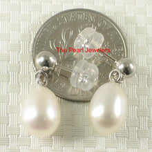 Load image into Gallery viewer, 1000015-14k-White-Solid-Gold-White-Pearl-Dangle-Stud-Earrings