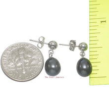 Load image into Gallery viewer, 1000016-Black-blue-Cultured-Pearl-14k-white-Solid-Gold-Dangle-Stud-Earrings