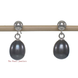 1000016-Black-blue-Cultured-Pearl-14k-white-Solid-Gold-Dangle-Stud-Earrings