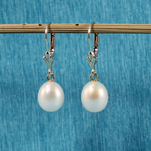 Load image into Gallery viewer, 1000020-Gold-Leverback-Genuine-White-Cultured-Pearl-Dangle-Earrings