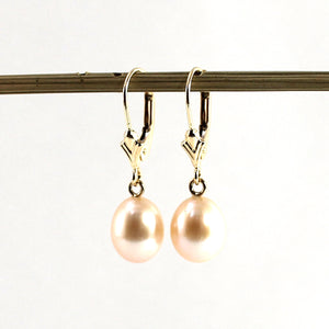14k Yellow Gold Leverback; Genuine AAA Peach Cultured Pearl Dangle Earrings
